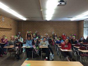 My awesome class with their bubble wrap.