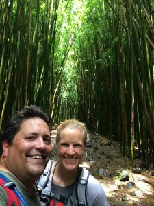 One of my favorite photos--hiking through a bamboo forest on our way to a waterfall overlook.  Magic.