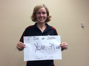"""August: I started my 10th school year at SUU! This was my """"first day of school"""" photo."""